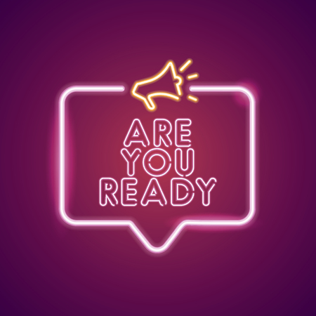 Are you ready neon light announcement poster template Stok Fotoğraf