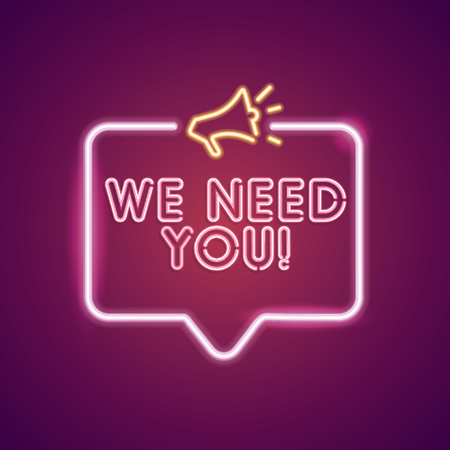 We need you neon employment sign Imagens