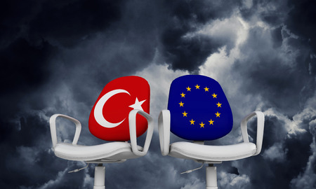 Turkey and Europe business chairs. Internationl relationship concept. 3D Rendering Foto de archivo