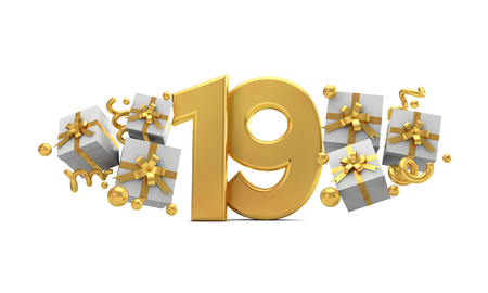 Number 19 gold birthday celebration number with gift boxes. 3D Rendering