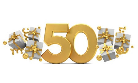 Number 50 gold birthday celebration number with gift boxes. 3D Rendering