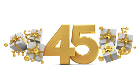 Number 45 gold birthday celebration number with gift boxes. 3D Rendering