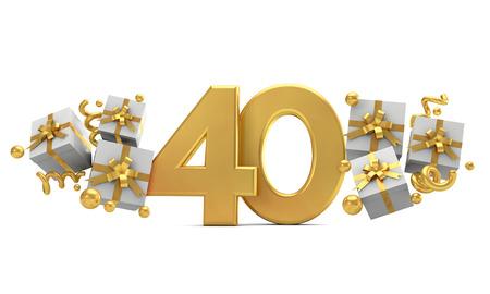 선물 상자가 있는 40번 금 생일 축하 번호입니다. 3D 렌더링
