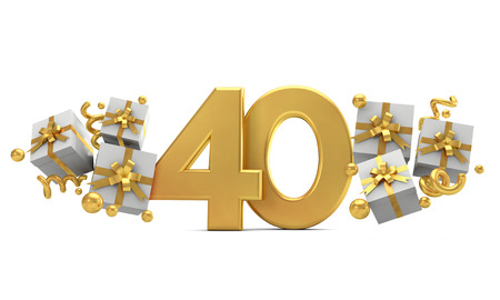 Number 40 gold birthday celebration number with gift boxes. 3D Rendering