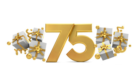 Number 75 gold birthday celebration number with gift boxes. 3D Rendering
