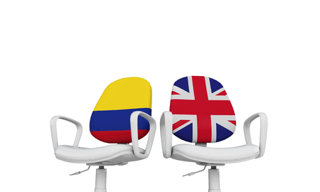 Colombia and Great Britain business chairs. Internationl relationship concept. 3D Rendering