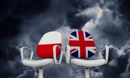 Poland and Great Britain business chairs. Internationl relationship concept. 3D Rendering