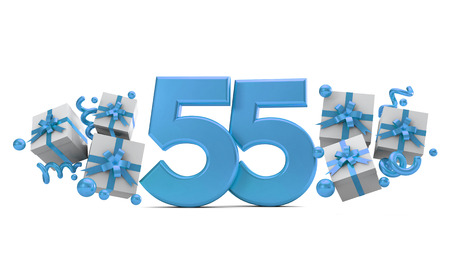 Number 55 blue birthday celebration number with gift boxes. 3D Rendering