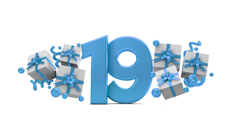 Number 19 blue birthday celebration number with gift boxes. 3D Rendering Stock Photo