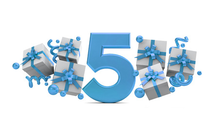 Number 5 blue birthday celebration number with gift boxes. 3D Rendering Banque d'images