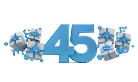 Number 45 blue birthday celebration number with gift boxes. 3D Rendering Banco de Imagens