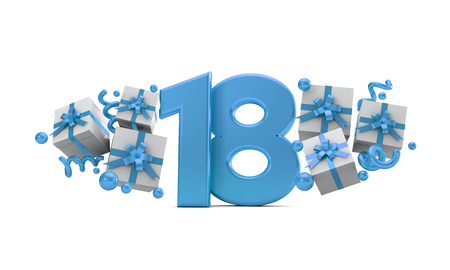 Number 18 blue birthday celebration number with gift boxes. 3D Rendering