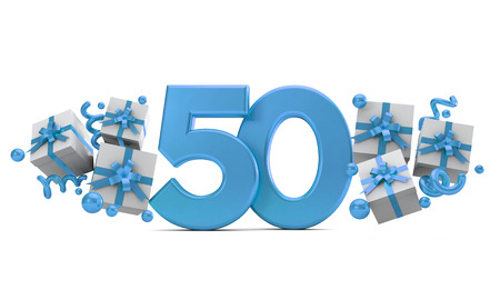 Number 50 blue birthday celebration number with gift boxes. 3D Rendering