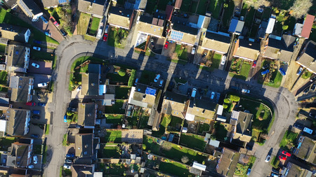 Aerial view of homes in a suburban setting in England Stock Photo