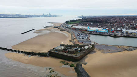 Aerial drone view over New Brighton a seaside area of the town of Wallasey in the UK Archivio Fotografico