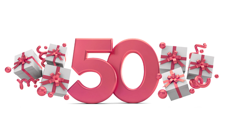 Number 50 pink birthday celebration number with gift boxes. 3D Rendering Foto de archivo