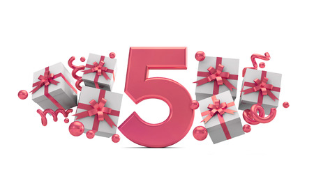 Number 5 pink birthday celebration number with gift boxes. 3D Rendering