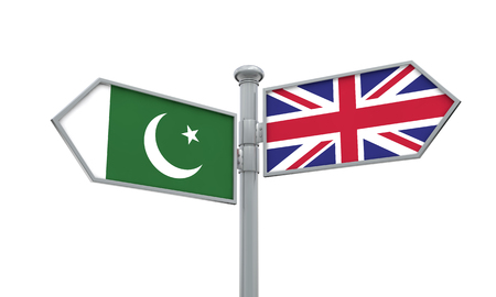 Pakistan and United Kingdom guidepost. Moving in different directions. 3D Rendering