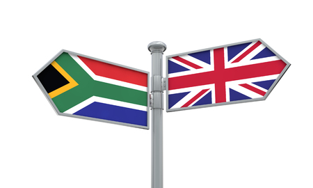 South Africa and United Kingdom guidepost. Moving in different directions. 3D Rendering