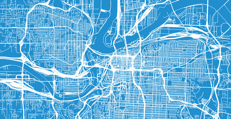 Urban vector city map of Kansas City, Missouri, United States of America