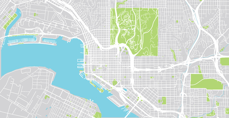 Urban vector city map of San Diego, California, United States of America 일러스트