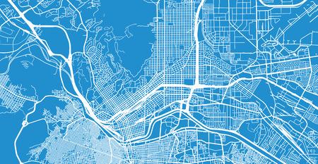 Mappa vettoriale urbana della città di El Paso, Texas, Stati Uniti d'America Vettoriali