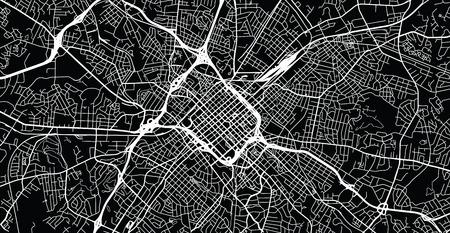 Urban vector city map of Charlotte, North Carolina, United States of America Illustration