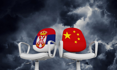Serbia and China business chairs. International relationship concept. 3D Rendering