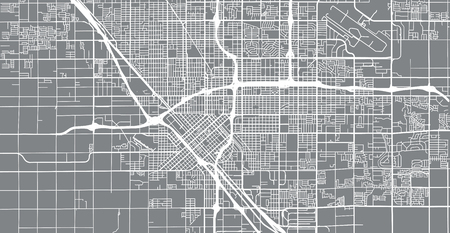 Urban vector city map of Fresno, California, United States of America Illustration