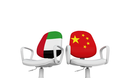 UAE and China business chairs. International relationship concept. 3D Rendering