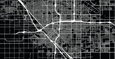 Urban vector city map of Fresno, California, United States of America