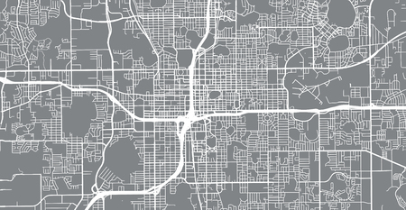 Urban vector city map of Orlando, Florida, United States of America