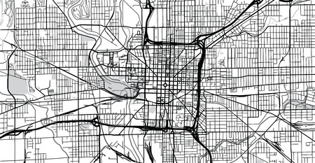 Urban vector city map of Indianapolis,Indiana, United States of America