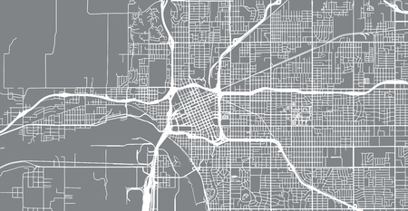 Urban vector city map of Tulsa, Oaklahoma, United States of America Illusztráció