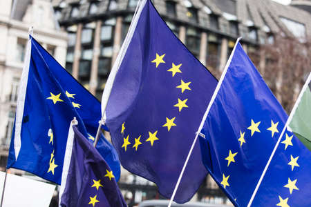 Flags of the European Union flying at a brexit march in London Stock fotó