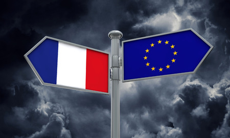 France and European Union guidepost. Moving in different directions. 3D Rendering