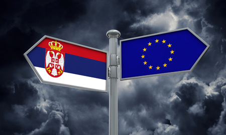 Serbia and European Union guidepost. Moving in different directions. 3D Rendering