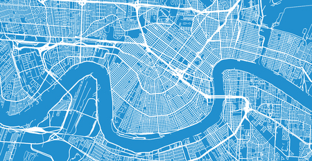 Urban vector city map of New Orleans, Louisiana, United States of America