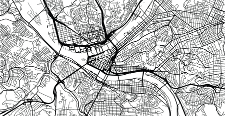 Urban vector city map of Pittsburgh, Pennsylvania, United States of America