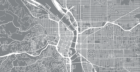Urban vector city map of Portland, Oregon, United States of America Ilustração
