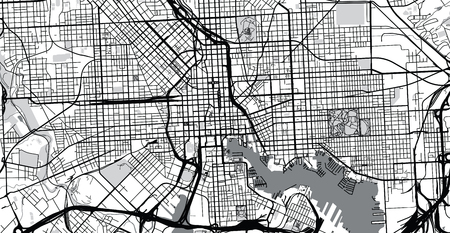 Urban vector city map of Balitmore, Maryland, United States of America