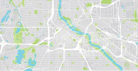Mappa vettoriale urbana della città di Minneapolis, Minnesota, Stati Uniti d'America
