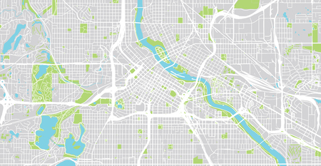 Urban vector city map of Minneapolis, Minnesota, United States of America