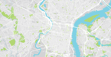 Urban vector city map of Philadelphia, Pennsylvania, United States of America Reklamní fotografie