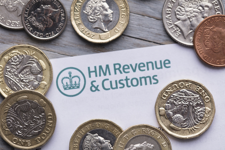 LONDON, UK - January 24th 2019: HMRC, Her Majestys Revenue and Customs tax return paperwork.