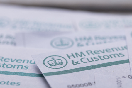 LONDON, UK - January 24th 2019: HMRC, Her Majestys Revenue and Customs tax return paperwork.