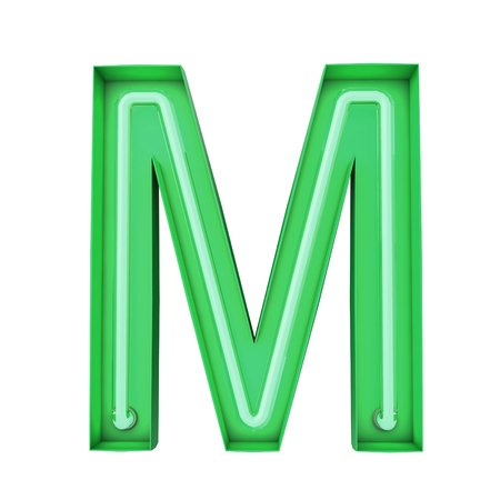 Neon style light letter M. Glowing neon Capital letter. 3D rendering Stock Photo - 115932674