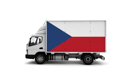Delivery van with Czech Republic flag. logistics concept