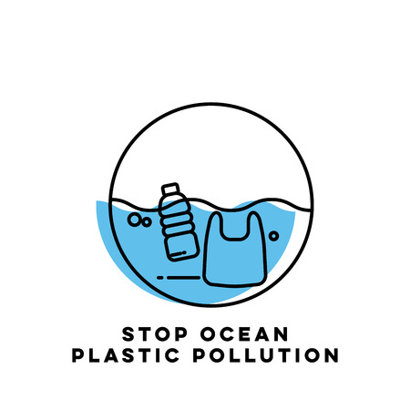 Plastic waste in the ocean concept. Sea Pollution.