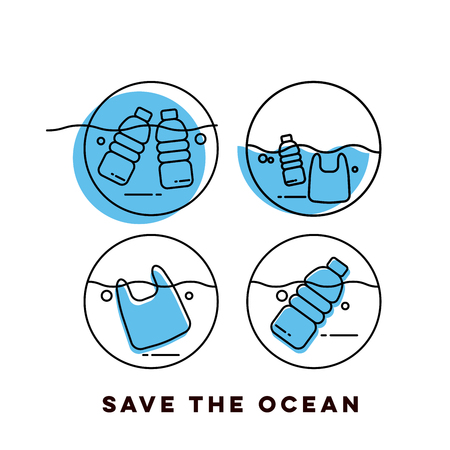 Plastic waste in the ocean concept. Sea Pollution.
